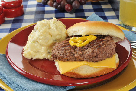 home cooked: A home cooked cheeseburger with potato salad and lemonaid