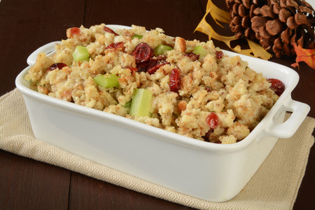 stuffing: Stuffing with turkey broth, cranberries and celery