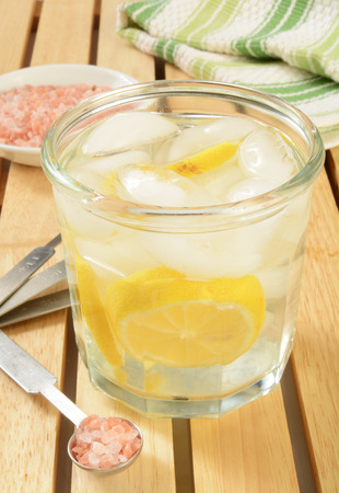 purified water: A glass of alkaline water made with Himalayan salt, lemons and purified water