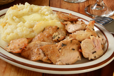 morsels: Succulent turkey morsels with mashed potatoes and butter