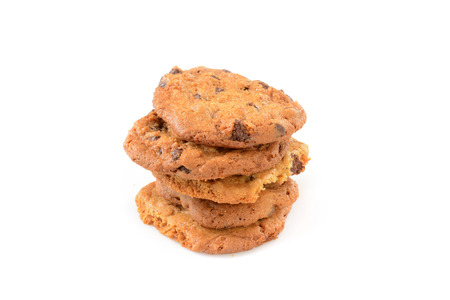 Home made chocolate and butterscotch cookies on a white background