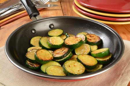 Sauteed organic zucchine squash in a frying pan