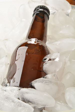 A bottle of beer chilling in a chest of ice photo