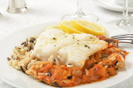 Cod Provencale with Ratatouille and Rice shot close up Stock Photo