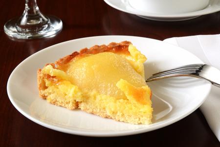 custard slice: A slice of gourmet pear tarte with almond custard filling