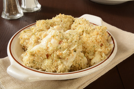 gruyere: Steamed cauliflower with gruyere cheese and bread crumbs