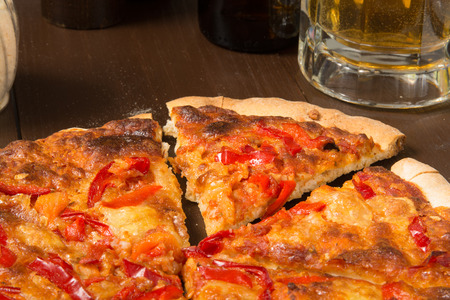 woodfired: Organic Siciliian style pizza with red peppers and beer