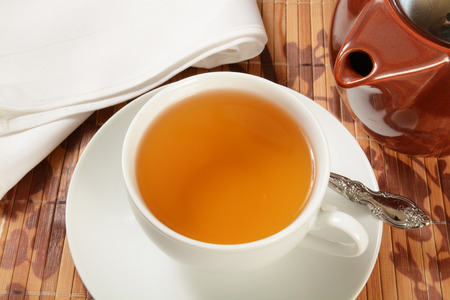 Overhead view of a cup of Jasmine green tea