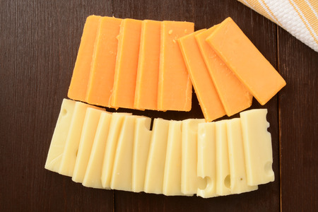cheddar: Slices of sharp cheddar and swiss cheeses
