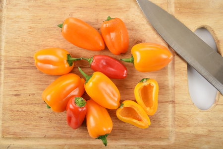 bell peppers: Small red and yellow bell peppers from a high angle view