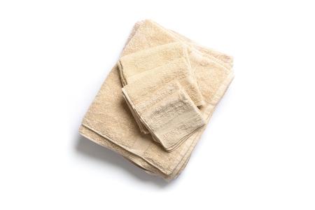 Folded bath towels shot from an overhead view 版權商用圖片