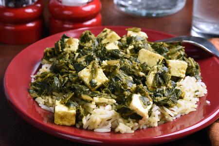 paneer: A plate of Palek Paneer Basmiti, an Indian dish