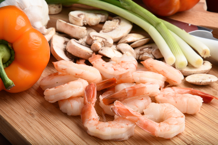Raw ingredients for a shrimp stir fry