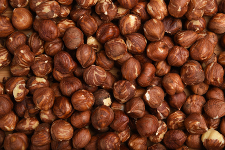 Shelled hazelnuts shot from a high angle view