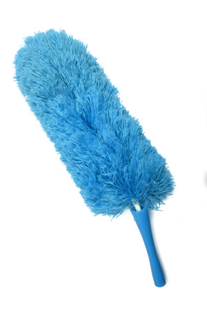 A microfiber feather duster on a white background, overhead view