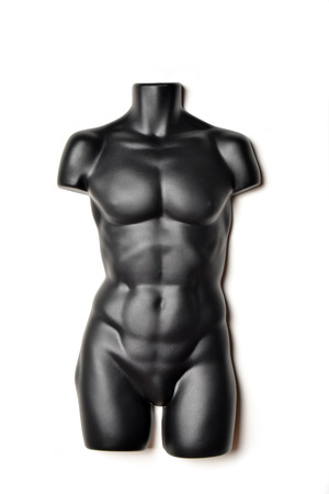 garment industry: A black, male mannequin torso on a white background