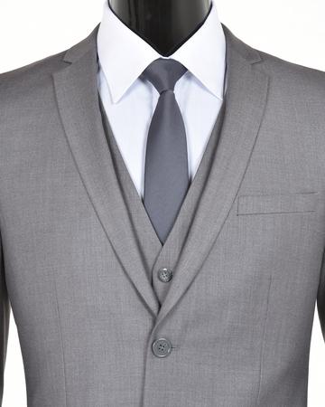 Closeup of a grey suit, vest and tie