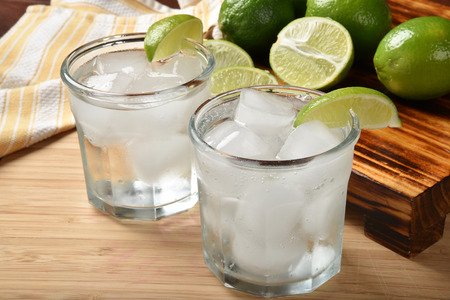 Sparkling water with fresh lime juice as a summer cooler