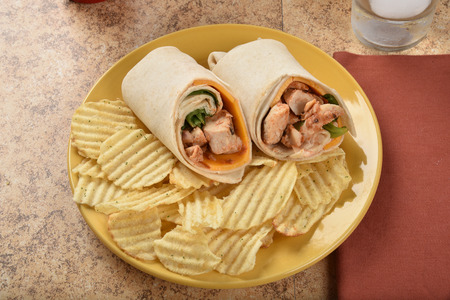 High angle view of a chicken wrap sandwich