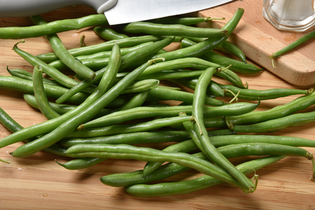 Fresh washed organic green beans from high angle view 版權商用圖片