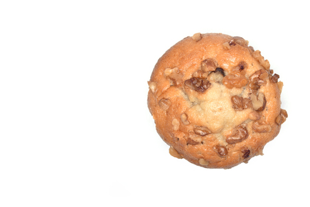 Overhead view of a banana nut muffin with copy space