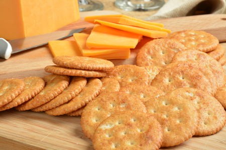 Golden whole wheat crackers with cheddar cheese