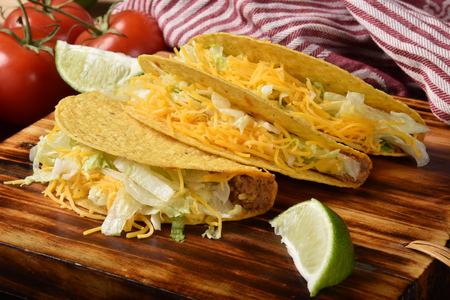 Fresh home made tacos on a chopping block