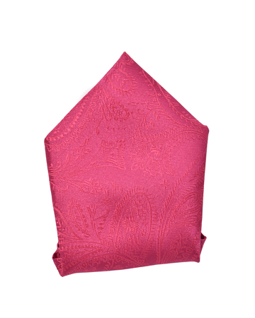 Hot pink or fuchsia pocket square folded into a triangle top