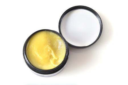 Overhead view of a jar of CBD or Hemp salve Stock Photo