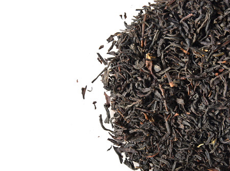 Mound of whole leaf black tea with copy space Stok Fotoğraf