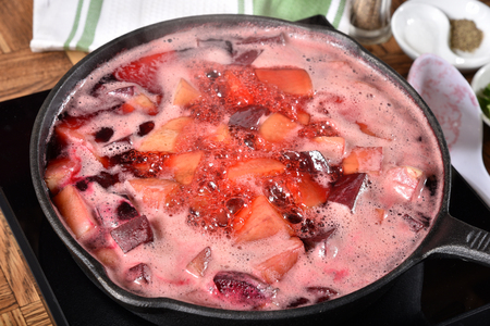 Boiling beets and potatoes for beet hash