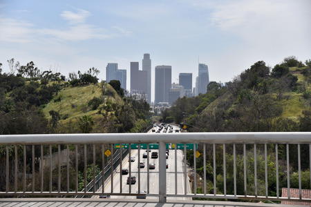 View of the Harbor Freeway leading into Los Angeles