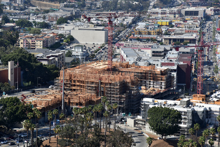 A construction project going up north of downtown Los Angeles