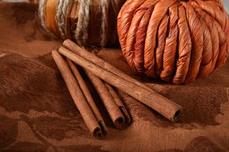 Cinnamon sticks on a dark napkin with decorative pumpkins