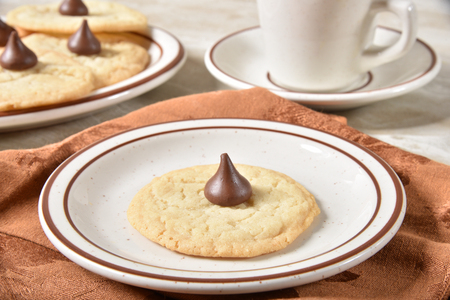 Homemade sugar cookie with a cup of hot chocolate