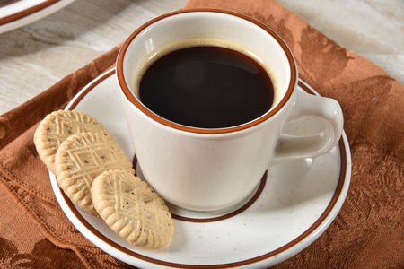 Shortbread cookes with a cup of coffee