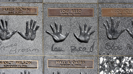 Handprints of recording artist Lou Reed on the RockWalk at the Guitar Center on Sunset Strip