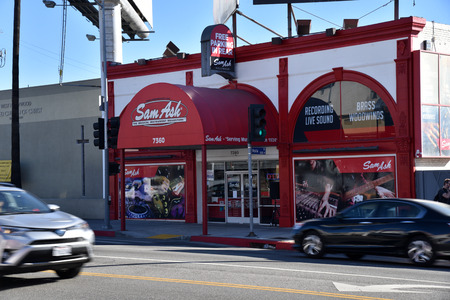 The famous Sam Ash music store on guitar row in Los Angeles on New Year's Day
