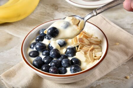 A spoonful of fresh Greek Style yogurt with blueberries above a bowl Stockfoto