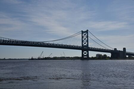 The iconic Ben Franklin Bridge over the Delaware River to New Jersey