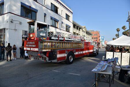 VENICE,  CA/USA - July 5, 2019: Fire trucks turning onto the boardwalk in Venice California