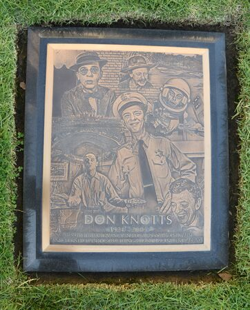 LOS ANGELES, CA/USA - MARCH 15, 2019: Actor Don Knott's tombstone at Pierce Brothers Westwood Village Memorial Park, where many celebrities are buried