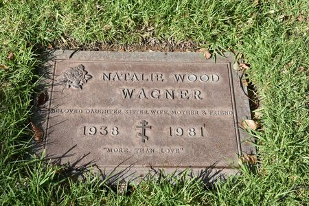 LOS ANGELES, CA/USA - MARCH 15, 2019: Natalie Wood's tombstone at Pierce Brothers Westwood Village Memorial Park, where many celebrities are buried