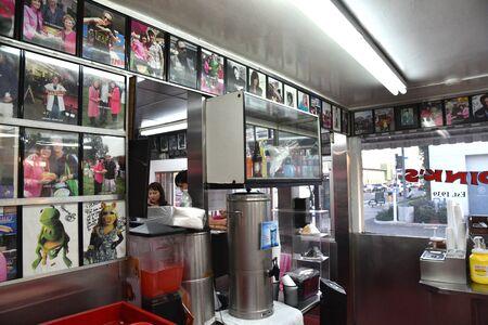 LOS ANGELES, CA/USA - NOVEMBER 5, 2018: Photos of celebrities inside Pink's, a Los Angeles landmark