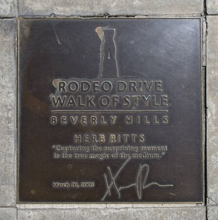 LOS ANGELES, CA/USA - July 8, 2019: Plaque on the Rodeo Drive Walk of Style honoring fashion photographer Herb Ritts