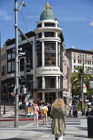 LOS ANGELES, CA/USA - July 8, 2019: The Stefano Ricci store on the intersection of Rodeo Drive and Via Rodeo in Beverly Hills