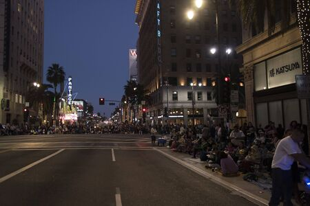 LOS ANGELES, CA/USA - November 24, 2018: Crowds gather on Hollywood Blvd near the Pantages Theatre for the annual Hollywood Christmas Parade