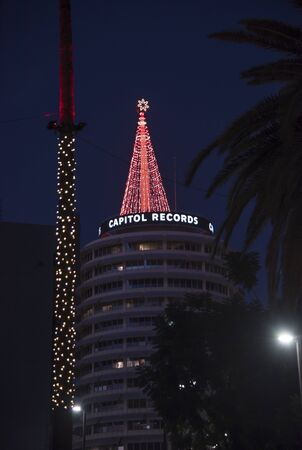 LOS ANGELES, CA/USA - November 24, 2018: A Christmas Tree of lights on top of the iconic Capitol Records Building