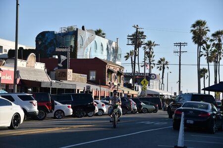 VENICE, CA/USA - JULY 18, 2019: Trendy restaurants along Washington Blvd near the Venice Pier