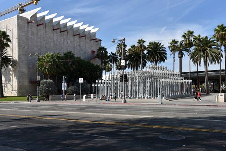 LOS ANGELES, CA/USA  - SEPTEMBER 20, 2018:  The Los Angeles County Museum of Art with the Urban Light sculpture in the forecourt.